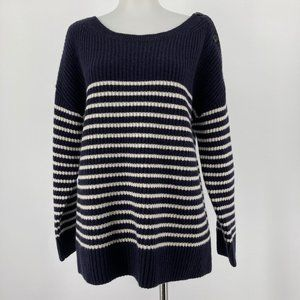Ann Taylor Sweater Striped Ribbed Knit Wool
